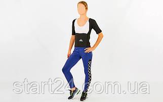 Футболка для похудения женская из композитной ткани с быстрым нагревом из серебряного волокна ST-2145 (M-3XL-44-54, черный)