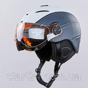 Шлем горнолыжный с визором и механизмом регулировки MOON MS-6296-GR (PC, p-p M-L-55-61, серый-черный)