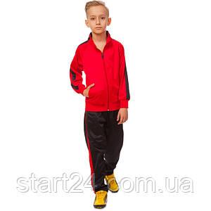 Костюм спортивный детский LD-581-R (полиэстер, флис, р-р 26-32, красный-черный)