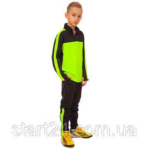 Костюм спортивный детский LD-2003T-BKG (полиэстер, р-р 26-32, черный-салатовый)