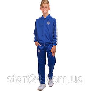Костюм спортивный детский Клубный CHELSEA LD-6112T-QEX (полиэстер, флис, р-р 26-32, синий-белый)