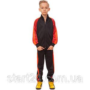 Костюм спортивный детский LD-6803T-OR (полиэстер, флис, р-р 26-32, черный-оранжевый)