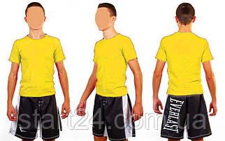 Футболка спортивная детская однотонная без рисунков CO-4490B-8 желтый (хлопок, размер L-XL-7-11 лет)