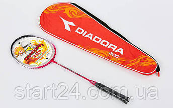 Ракетка для бадминтона 1штука в чехле DIA D200 (сталь, цвета в ассортименте) (Replica), фото 3
