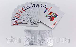 Игральные карты серебряные IG-4567-S SILVER 500 EURO (колода в 54 листа, толщина-0,28мм)