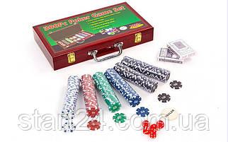 Набор для покера в деревянном кейсе IG-6643 на 300 фишек с номиналом (2 кол.карт,5куб)
