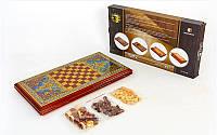 Нарды, шахматы 2 в 1 набор настольных игр деревянные BAKU XLY760-B (р-р доски 52см x 56см)