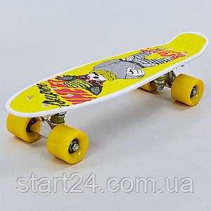 Скейтборд пластиковый Penny HB-13-4 22in с рисунком СОБАКА (колесо-PU d-6см, р-р деки 55х14,5см, желтый)