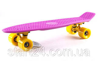 Скейтборд пластиковый Penny Original FISH 22in однотонная дека SK-401-18 (фиолетовый-желтый-желтый)