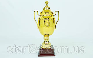 Кубок спортивный с ручками и крышкой GREEK C-1314C (пластик, h-52см, b-25см, d чаши-15см, золото)