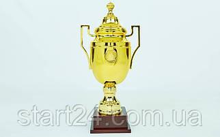 Кубок спортивный с ручками и крышкой GREEK C-1314B (пластик, h-58см, b-27см, d чаши-16см, золото)
