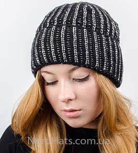 """Вязаная женская шапка, """"Стелла отворот"""" (Черный)"""