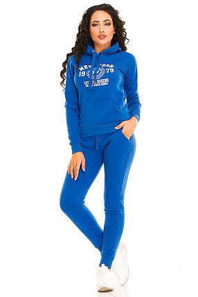 Теплый женский спортивный костюм 2877  электрик, фото 2