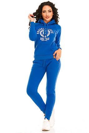 Теплый женский спортивный костюм 2878  электрик, фото 2