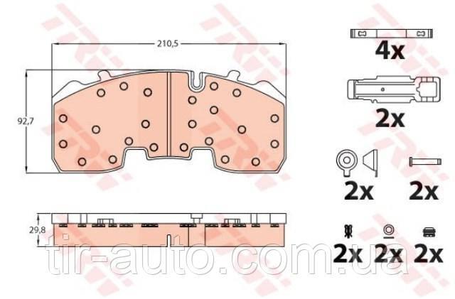 Комплект тормозных колодок дисковый тормоз 29165 ( TRW ) GDB5092