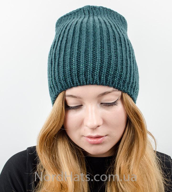 Удлиненная вязаная женская шапка с люрексом оптом , (Бутылка)