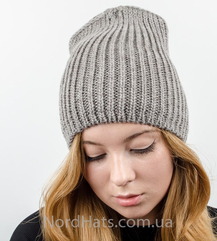Удлиненная вязаная женская шапка с люрексом оптом , (Капучино)