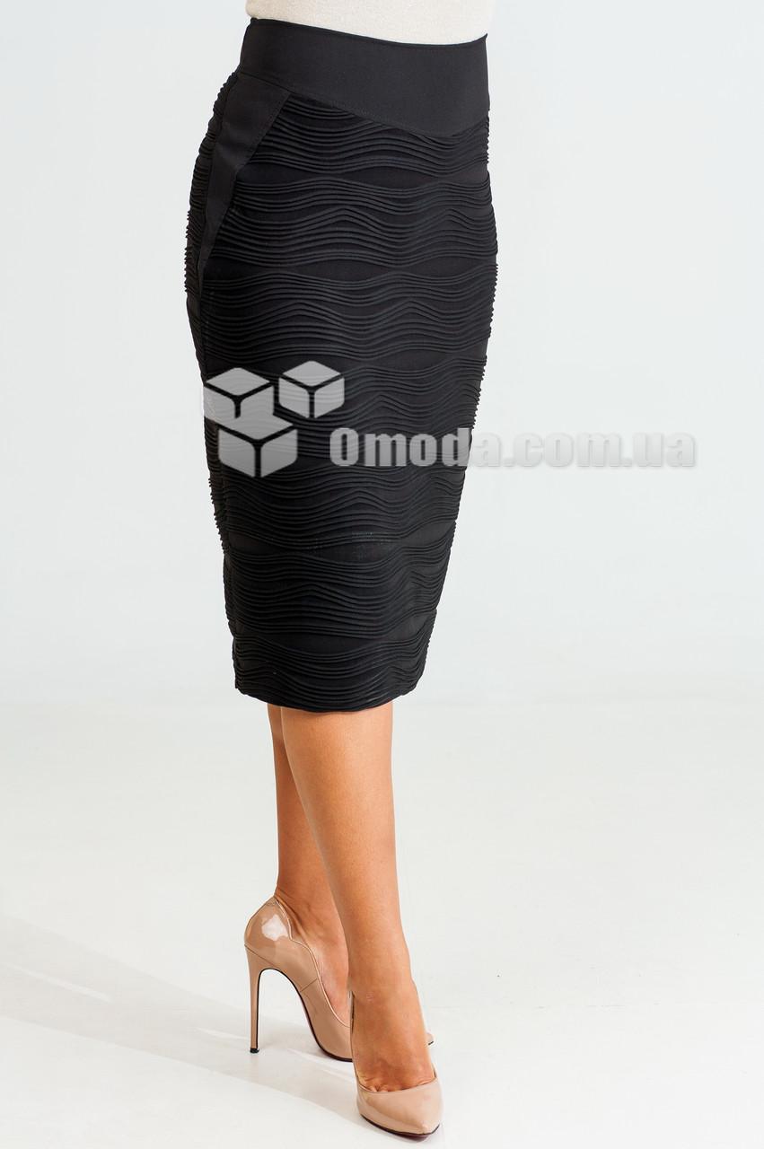 Женская юбка с рифленным рисунком черного цвета с высокой посадкой Мегги