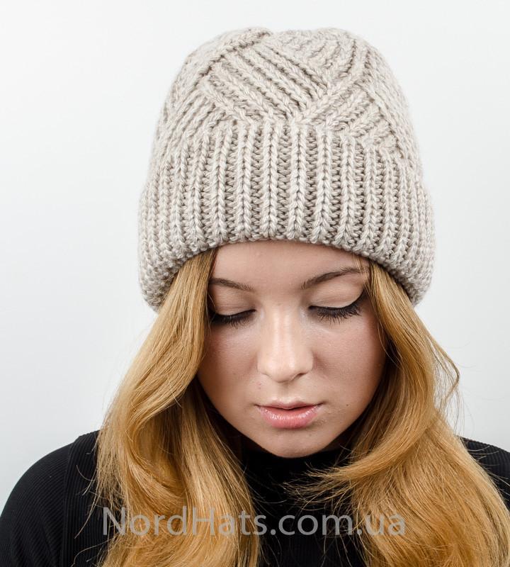 Вязаная женская шапка с отворотом, оптом , (Лен)
