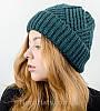 Вязаная женская шапка с отворотом, оптом , (Бутылка), фото 3