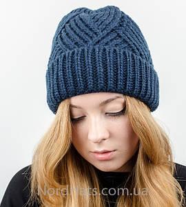 Вязаная женская шапка с отворотом, оптом , (Темно-синий)