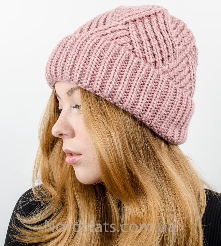 Вязаная женская шапка с отворотом, оптом , (Пудра темная)