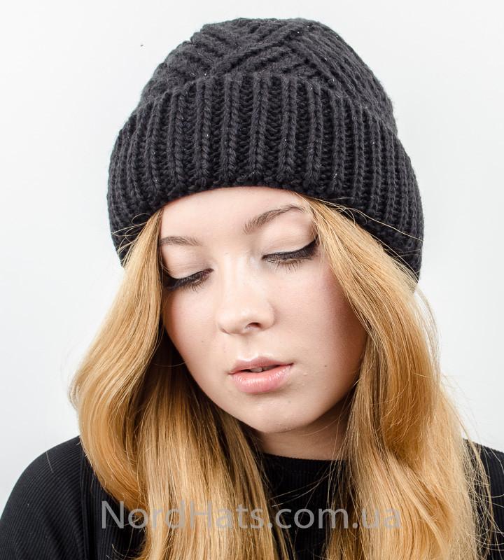 Вязаная женская шапка с отворотом, оптом , (Черный)