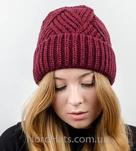 Вязаная женская шапка с отворотом, оптом , (Марсала)
