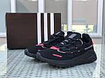 Мужские кроссовки Adidas (черно-красные), фото 4