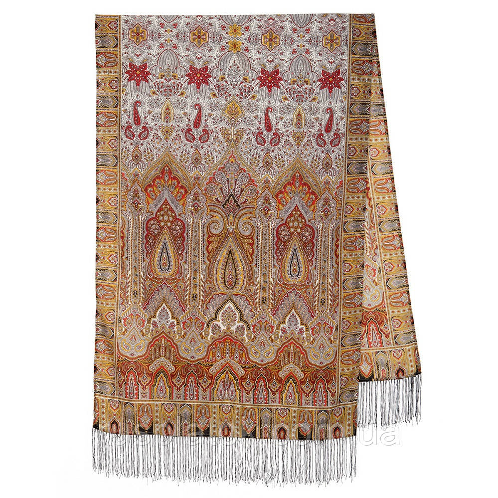 Царский 1159-53, павлопосадский шарф-палантин шерстяной с шелковой бахромой