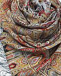 Царский 1159-53, павлопосадский шарф-палантин шерстяной с шелковой бахромой, фото 3