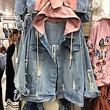 Куртка джинсова Denim з сірим капюшоном, фото 4