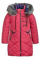 Зимняя удлиненная куртка на девочку курточка детская зима 116,122,134 коралл, фото 1