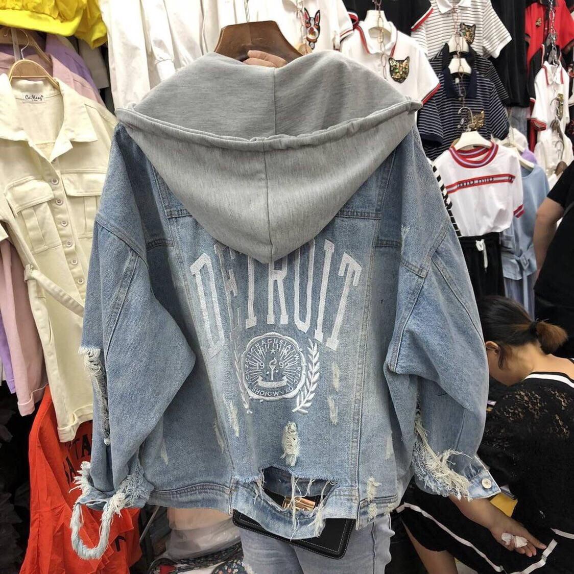 Куртка джинсова Denim з сірим капюшоном