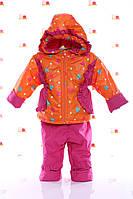 Костюм демисезонный детский Ноль S оранжевый в сердечко