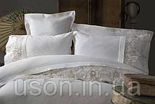 Комплект постельного белья сатин с вышивкой и кружевом Тм Pupilla Clasic Ecru