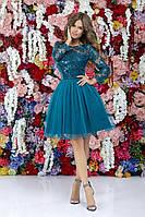 Стильне жіноче плаття з гіпюром та паєтками .Р-ри 42-46, фото 1