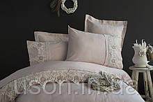 Комплект постельного белья сатин с вышивкой и кружевом Тм Pupilla Classic Lila