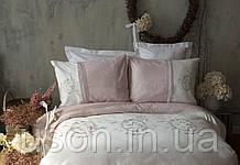 Комплект постельного белья сатин с вышивкой и кружевом Тм Pupilla Elena lila