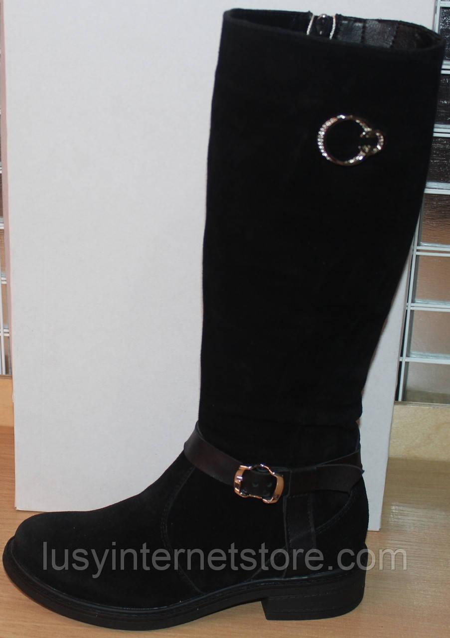 Сапоги зимние замшевые женские на низком каблуке от производителя модель СА253