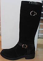 Сапоги зимние замшевые женские на низком каблуке от производителя модель СА253, фото 1