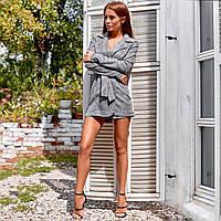 Женский пиджак-комбинезон серебро