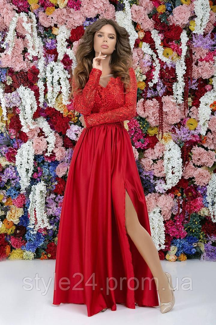 Стильне довге жіноче плаття з гіпюром та розрізом .Р-ри 42-46