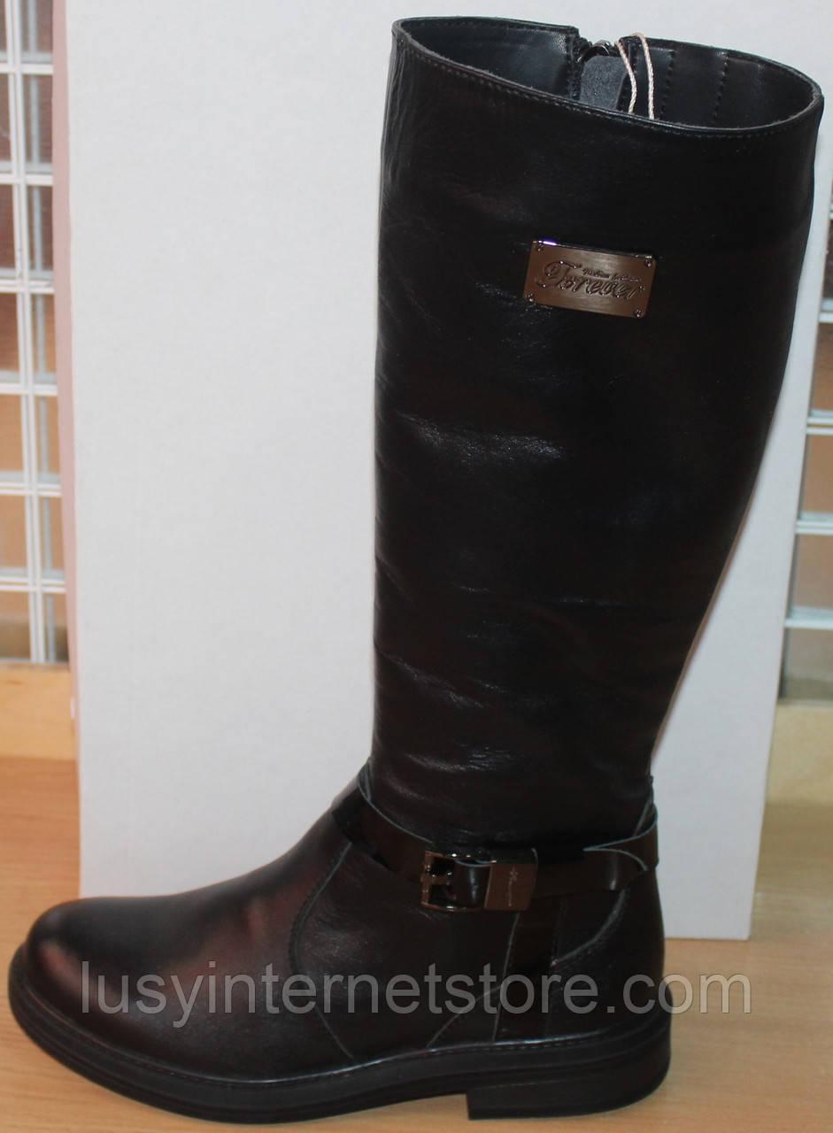 Сапоги зимние кожаные женские на низком каблуке от производителя модель СА253-1