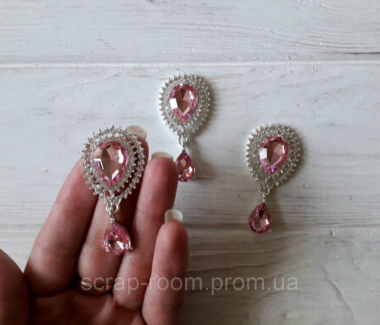 Брошь, брошь серебро с розовым камнем, брошь с подвеской, брошь свадебная, размер 25*50 мм, цена за шт