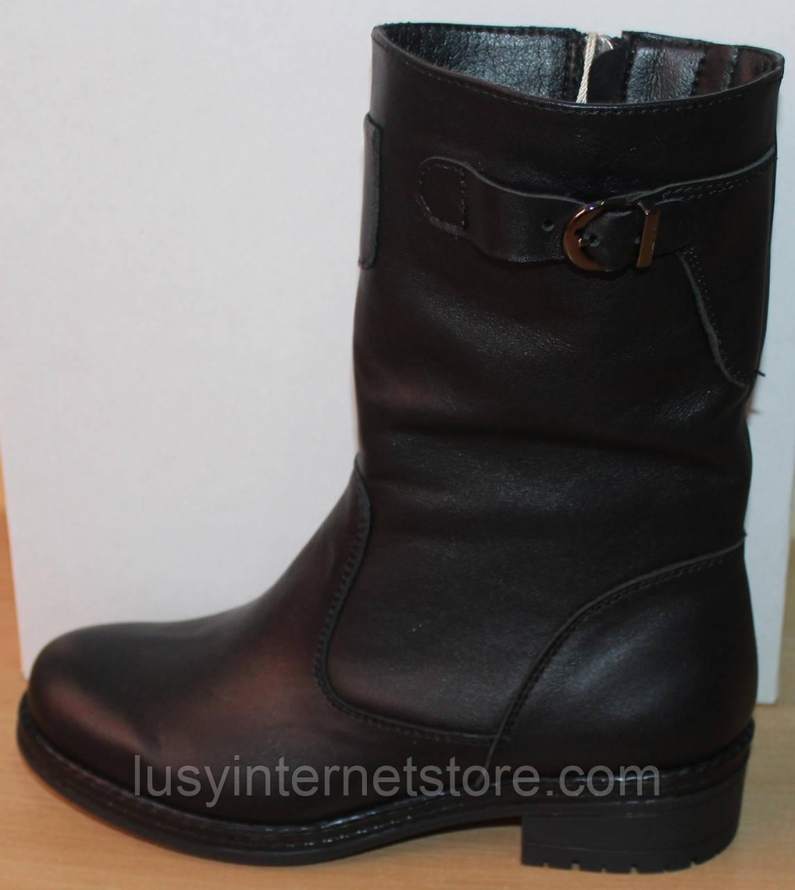 Сапоги зимние кожаные женские на широкую ногу от производителя модель СА247