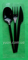 Набір посуду виделка + ніж + ложка чорного кольору