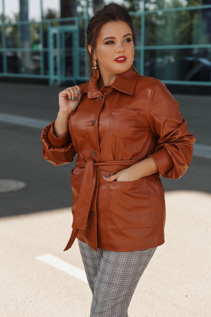 Женская куртка больших размеров  от 48 до 56 из эко-кожи с подкладкой / 3 цвета 391-411