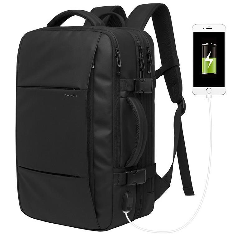 Вместительный дорожный рюкзак Bange BG1908, с USB портом и расширителем, семь отделений, свисток, 37л