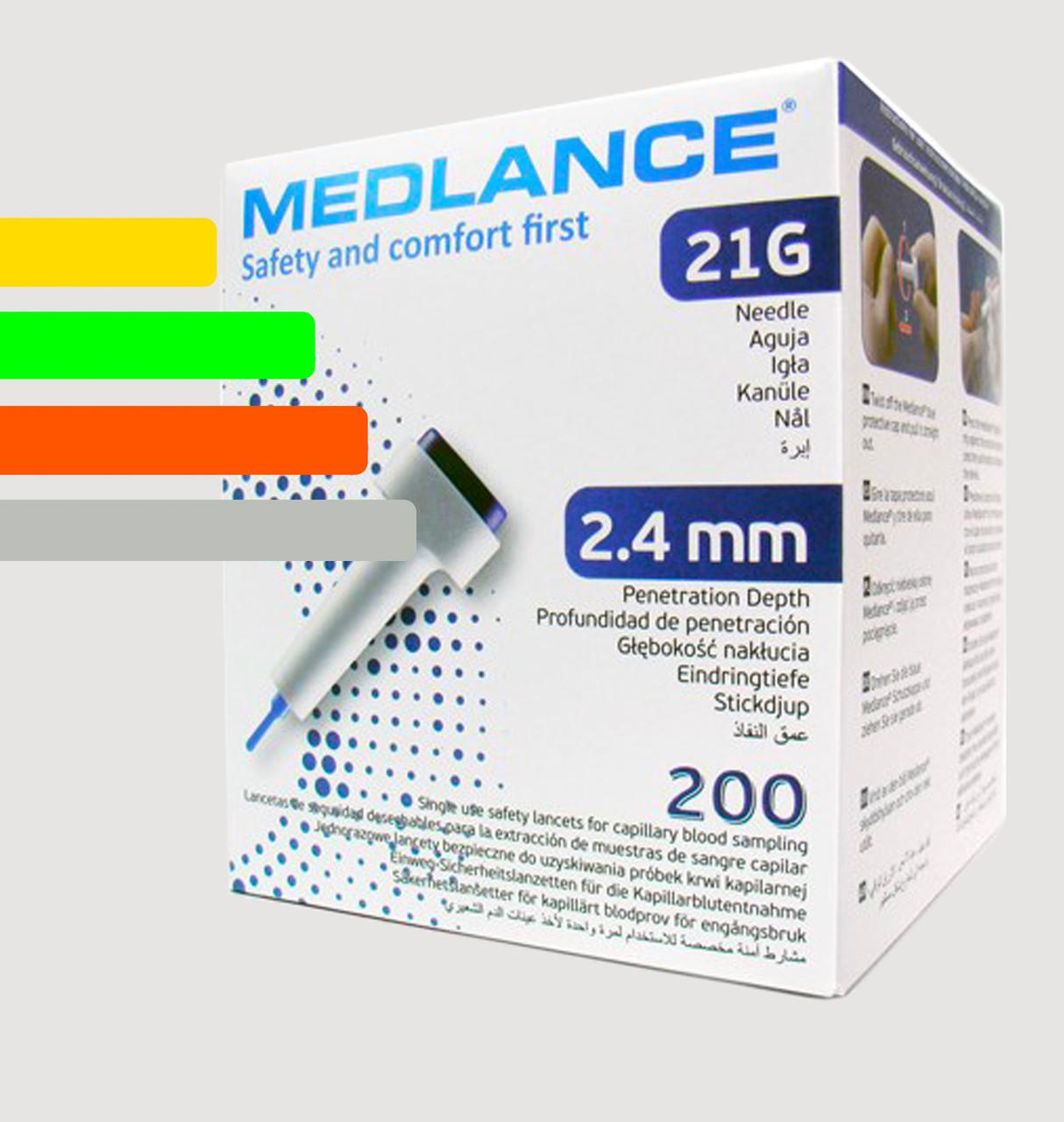 Ланцеты MEDLANCE с кнопкой, игла 21G, глубина  проникновения 2,4 мм